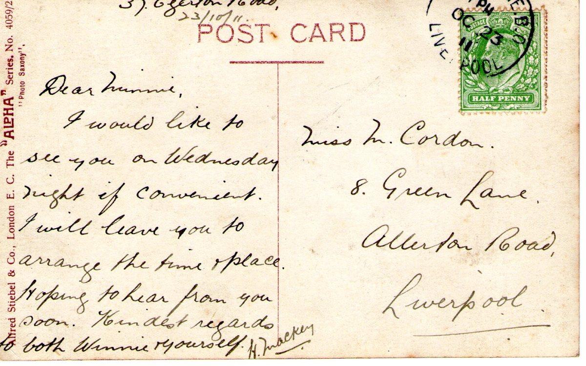 Postcard 1911 6 Reverse