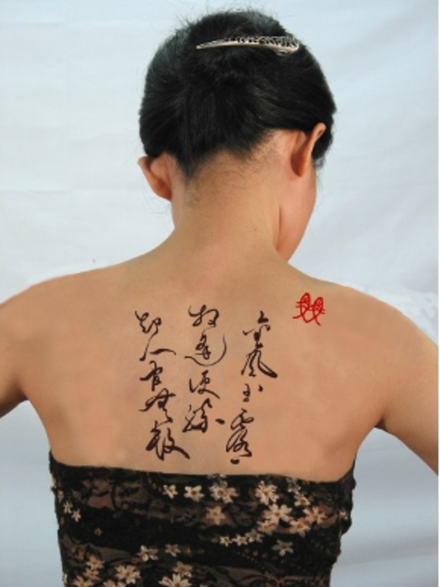 Chinese phrase tattoo on love, romance-woman