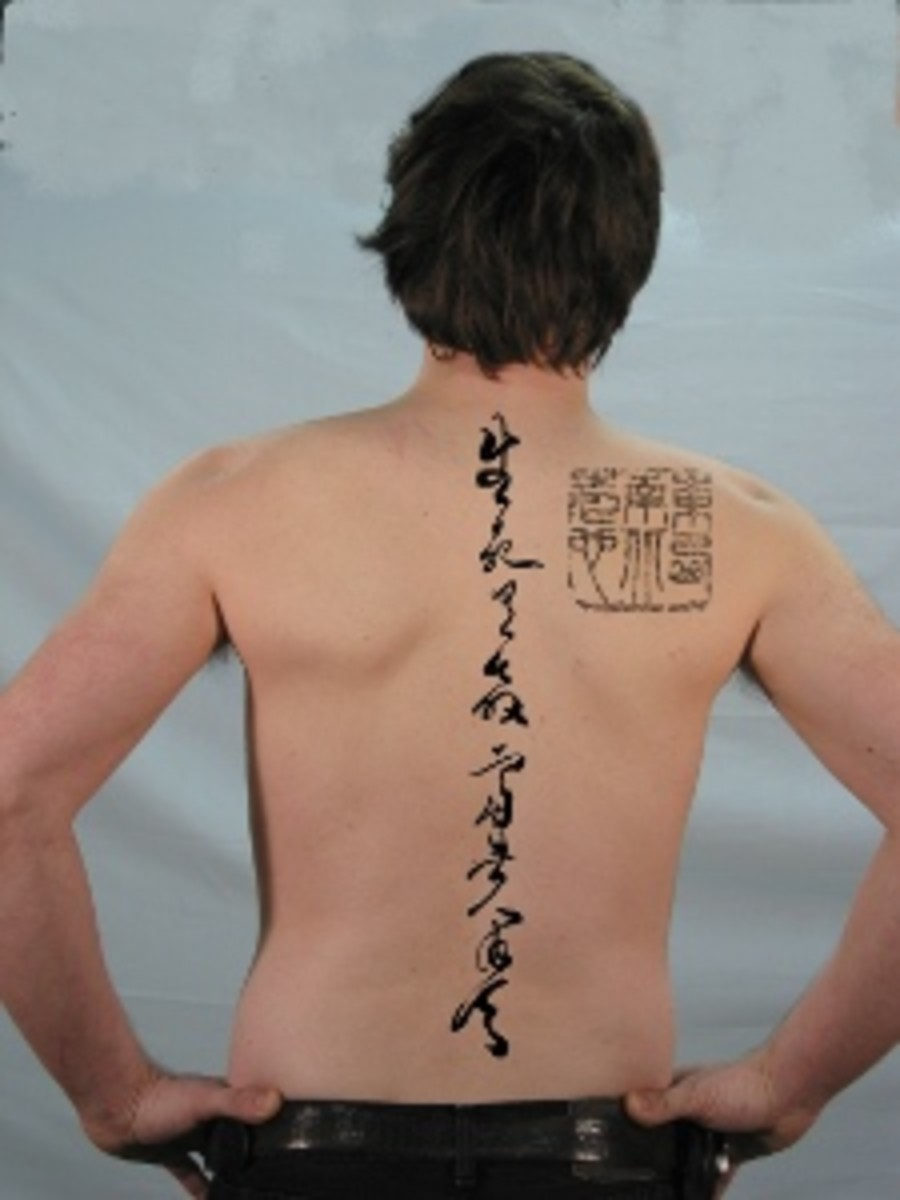 Chinese quote tattoo on life and death-man