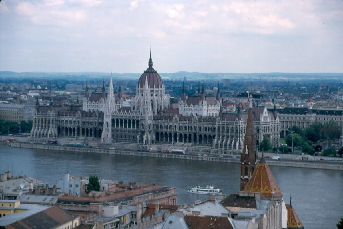 Parliament from the castle quarter, Budapest, Hungary.