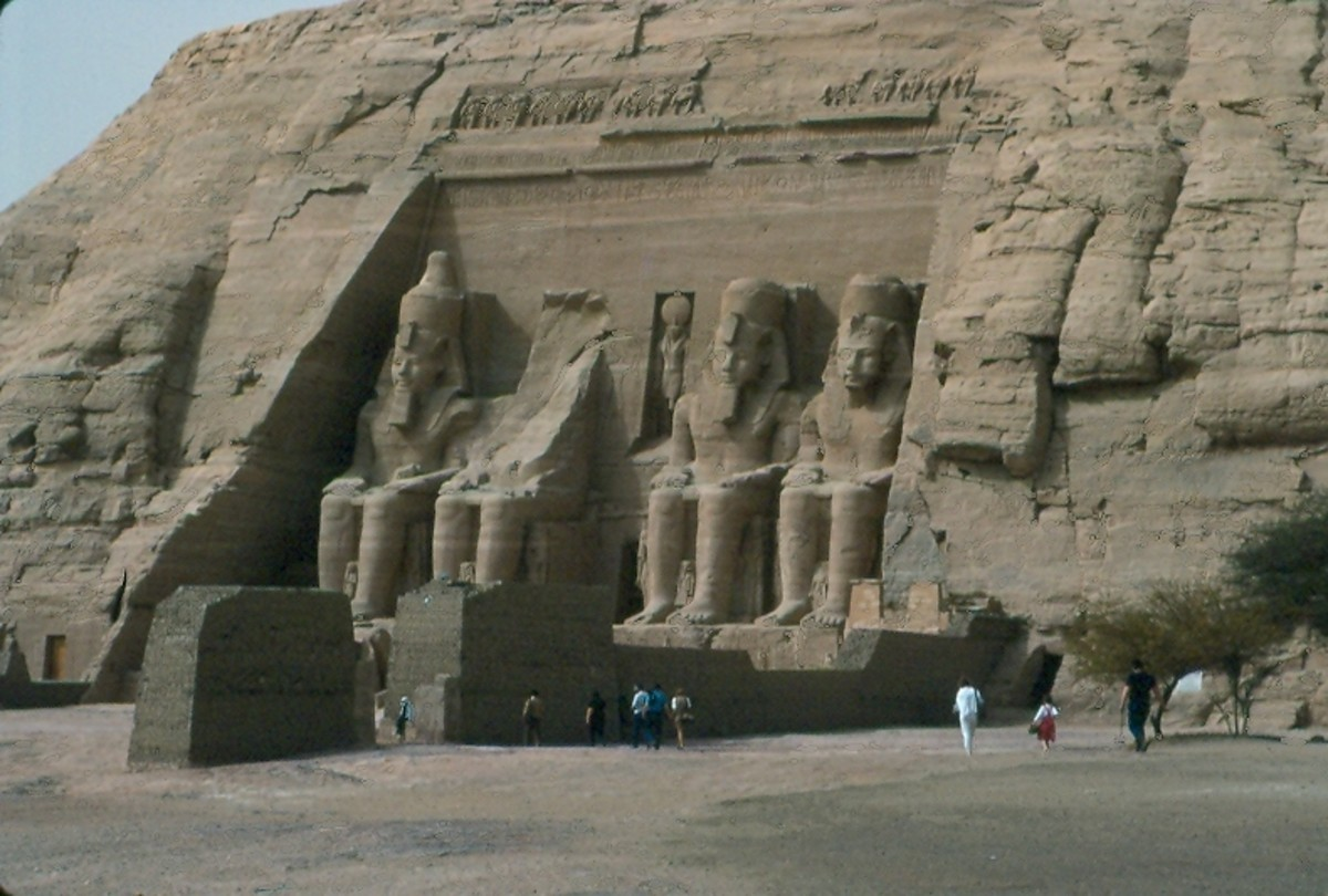 Abu Simbel, Egypt.  Now above the flooded river valley.