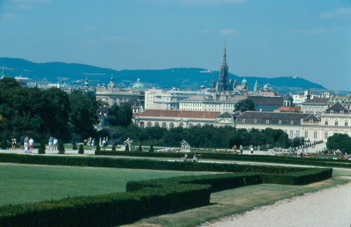 The spire of St. Stephens and the historic center of Vienna from the grounds of the Belvidere palace.