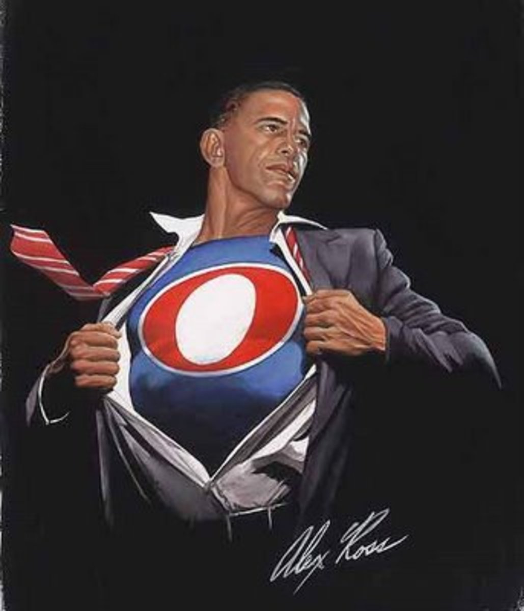 "Was directly based on Alex Ross picture of ""Obamaman"". Sleeve, back of hand, shirt crease, and tie are IDENTICAL"