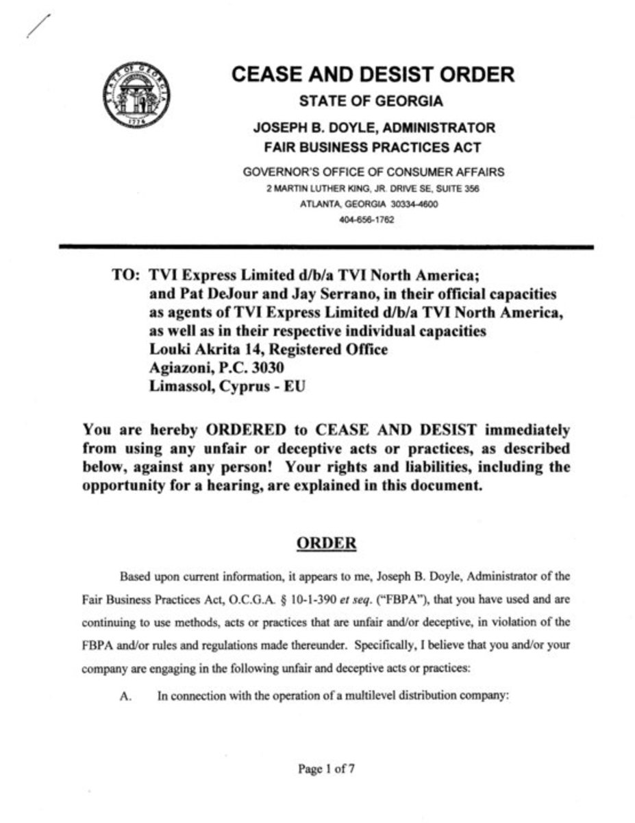 Cease and desist order from state of Georgia against TVI Express, from a TVI Express distributor