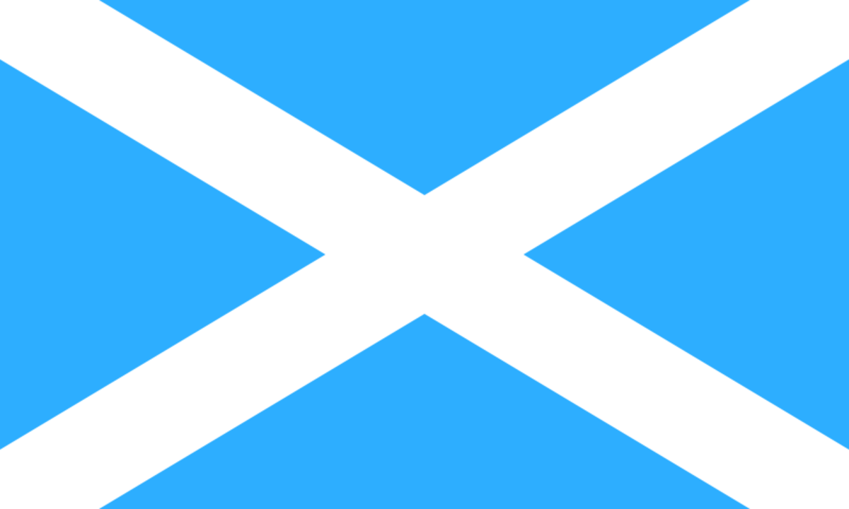 The traditional color of this flag of Scotland is this lighter blue, the same blue and white being national colors of South Korea as well. The Traditional Scots Flag is a medium blue and martime flags, a  dark blue that hold up to wind and rain.