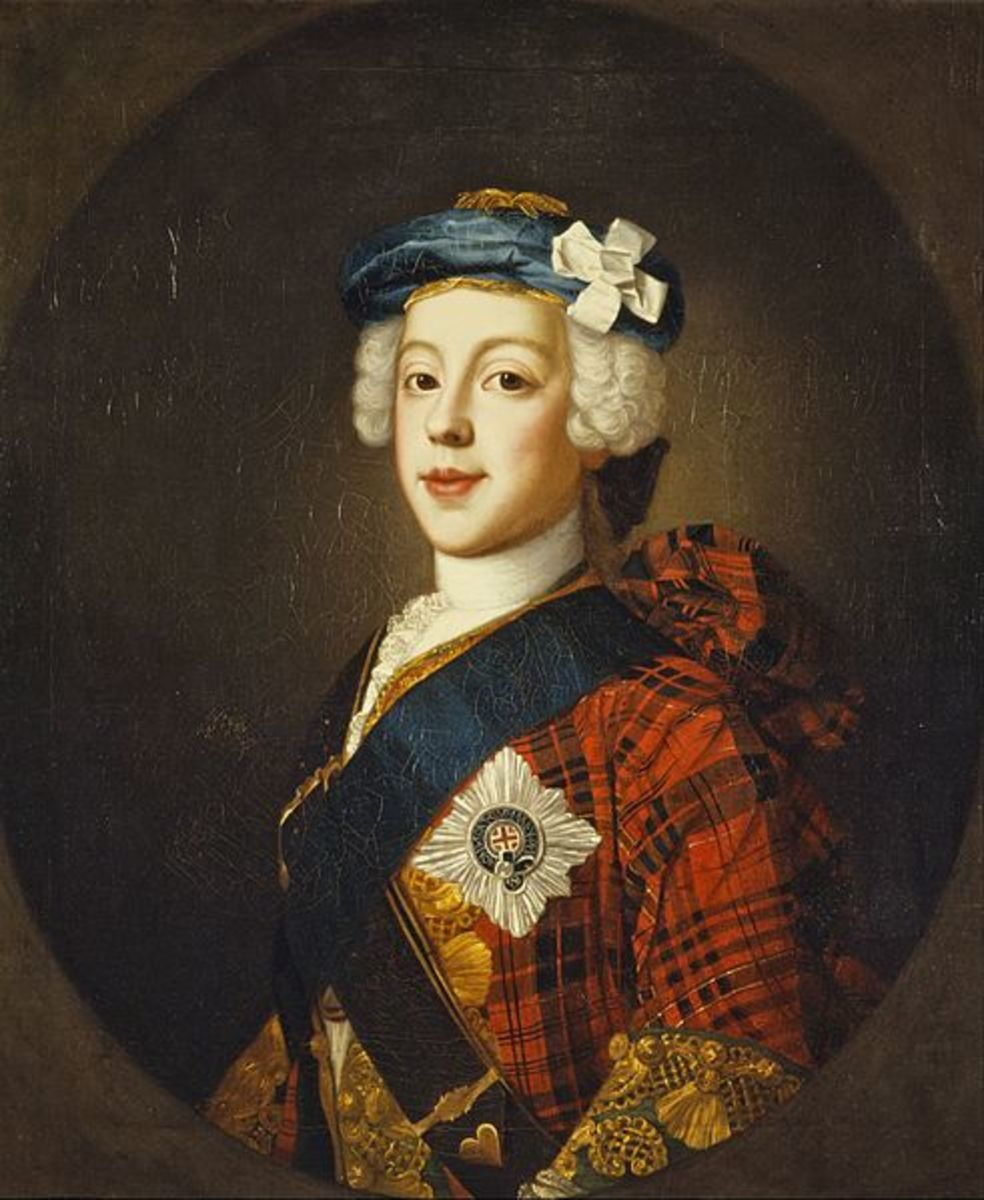 "Prince Charles Edward Stuart in a 1739-1745 period painting, in a clan tartan jacket, blue ""bonnet"", star and ribbon of the garter, and white cockade on his hat."