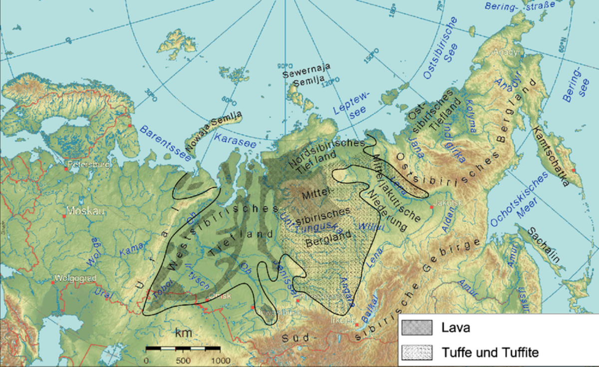 Siberian Traps highlighted on a map