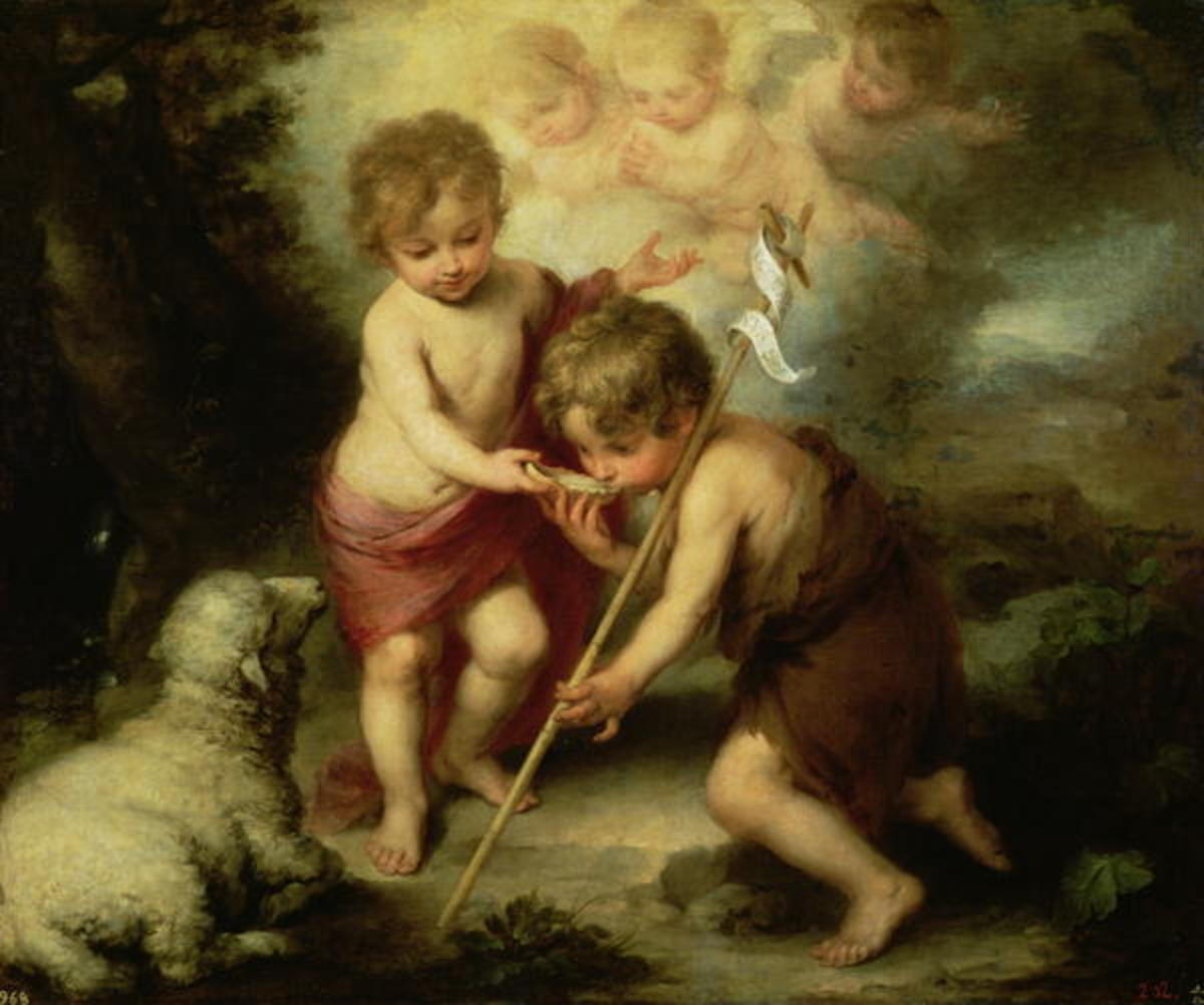 Child Jesus (left) with his cousin John the Baptist, painting by Bartolom Esteban Perez Murillo