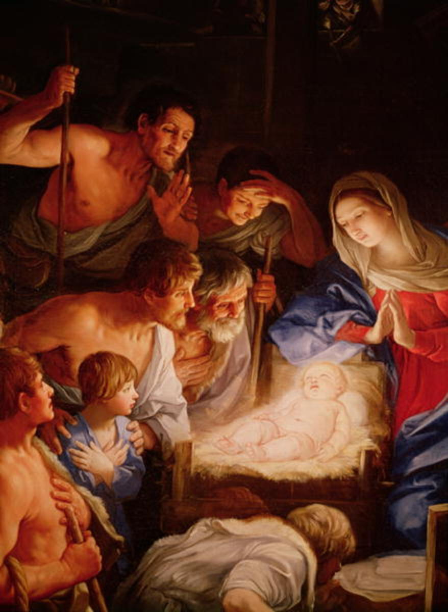 Adoration of the Shepherds, illustration by Guido Reni, 17th century