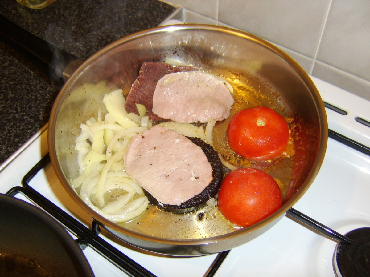 Onions are added to the Pan
