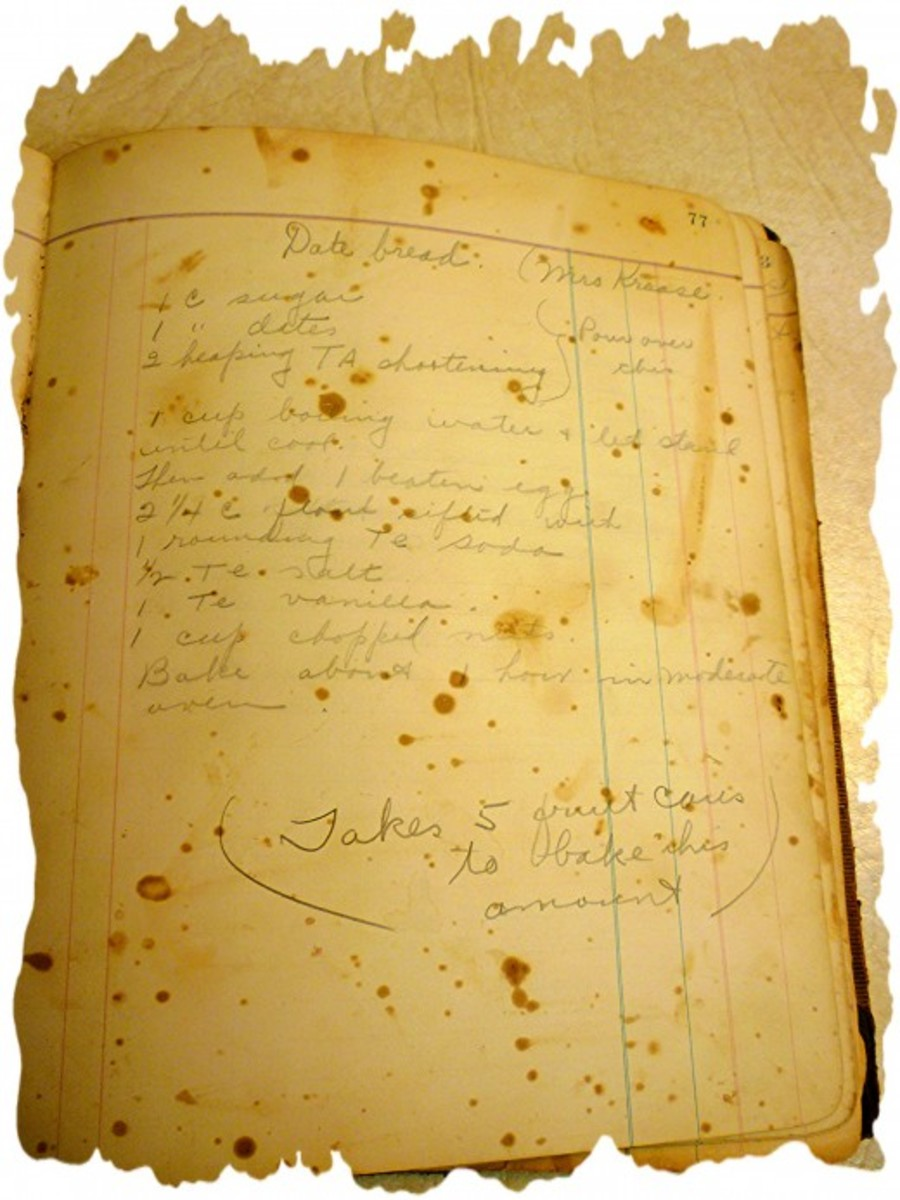 Handwritten date bread recipe on spattered page