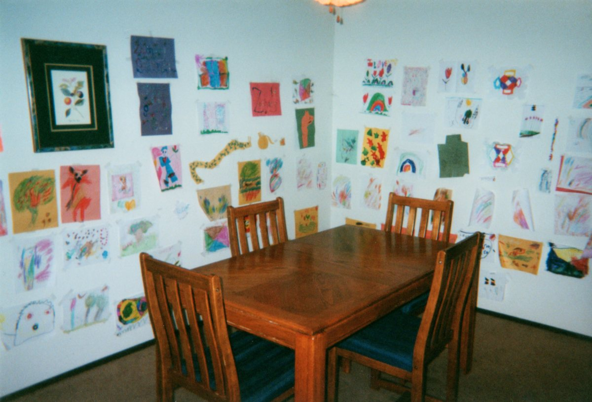 Kids' art studio (aka dining room) at my old apartment!