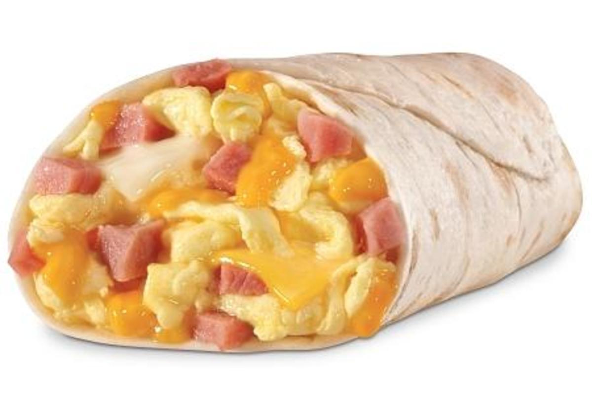 Ham and cheese breakfast burrito