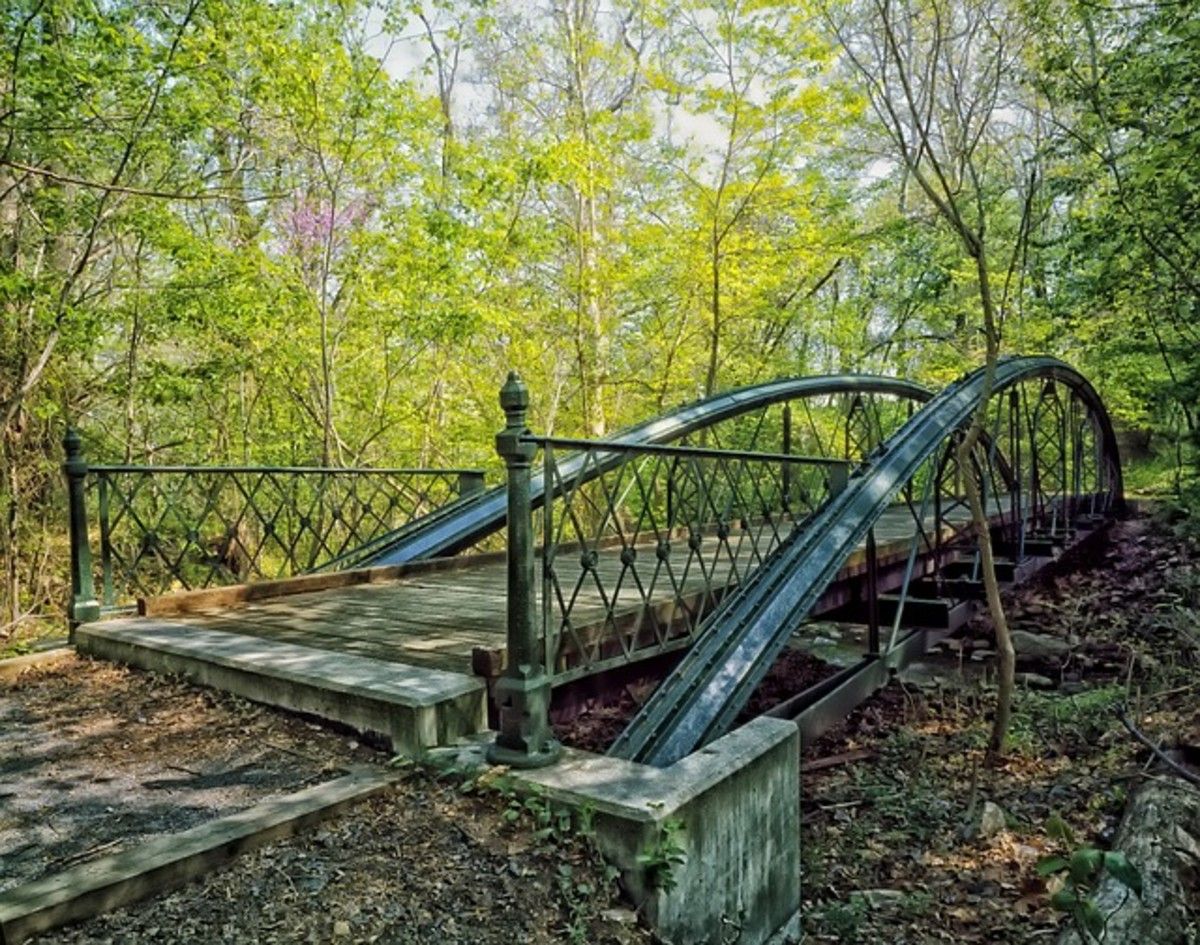 Imagine coming across this abandoned bridge on a deserted road as you walk through the woods in Maryland.