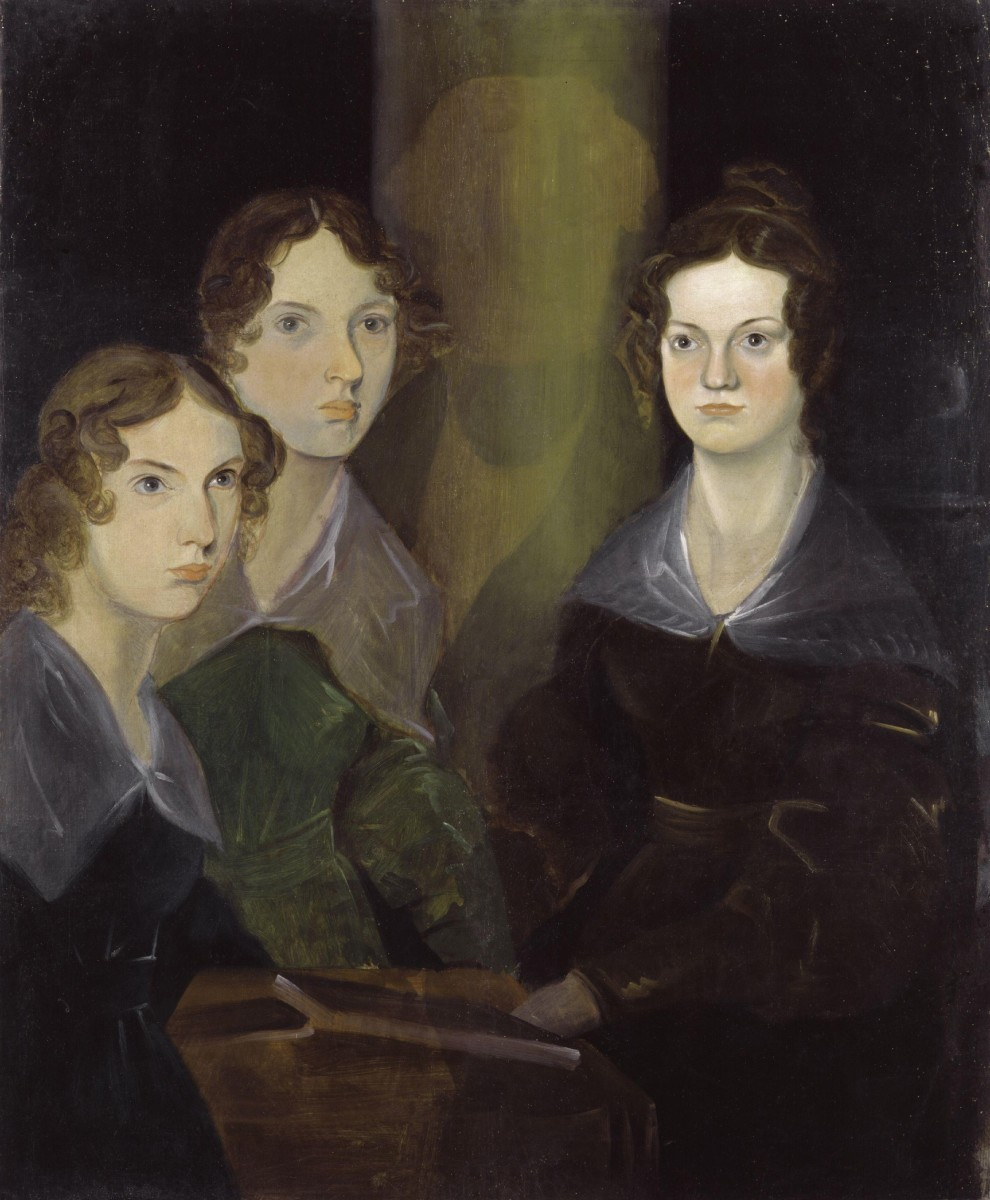 The Bronte Sisters, Anne, Emily, and Charlotte as painted by Branwell (you can see the area where he painted himself out)