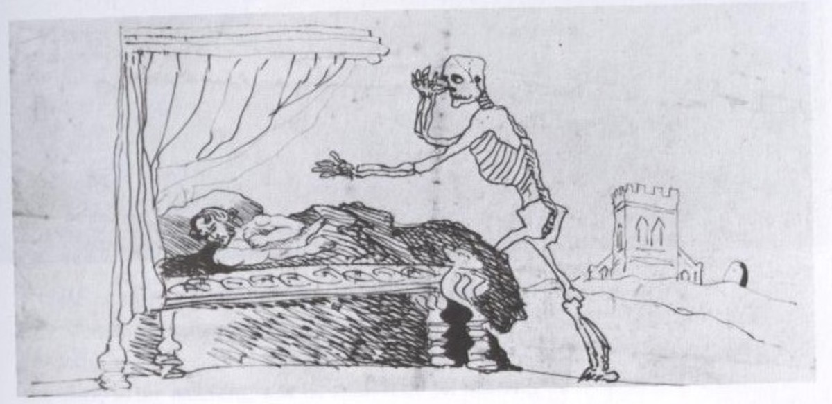 In his last days, Branwell created this sketch of himself and the approach of death.