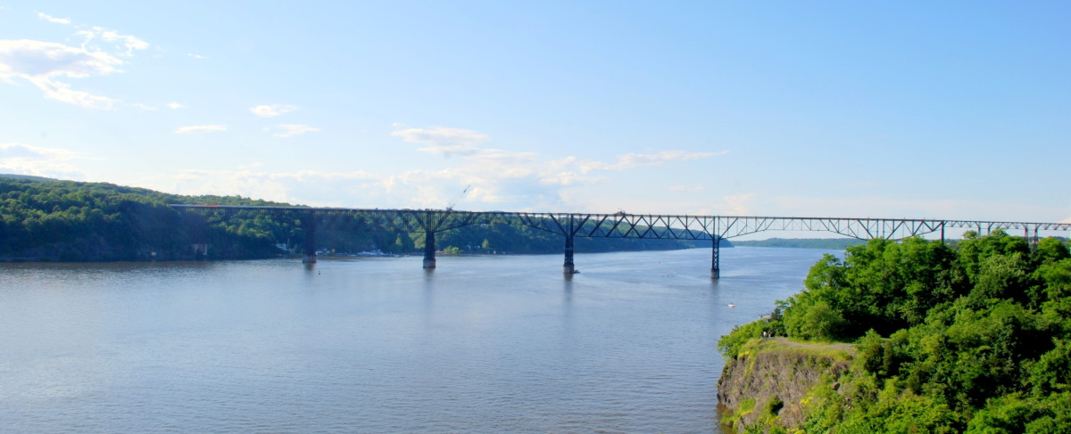 The view of the Poughkeepsie Railroad Bridge as seen from the Mid-Hudson Bridge.