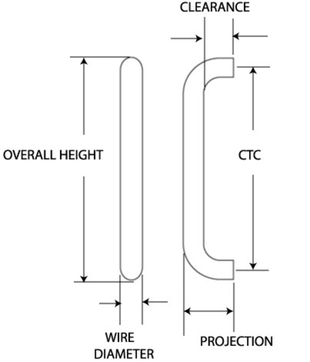 Dimensions of a door pull.