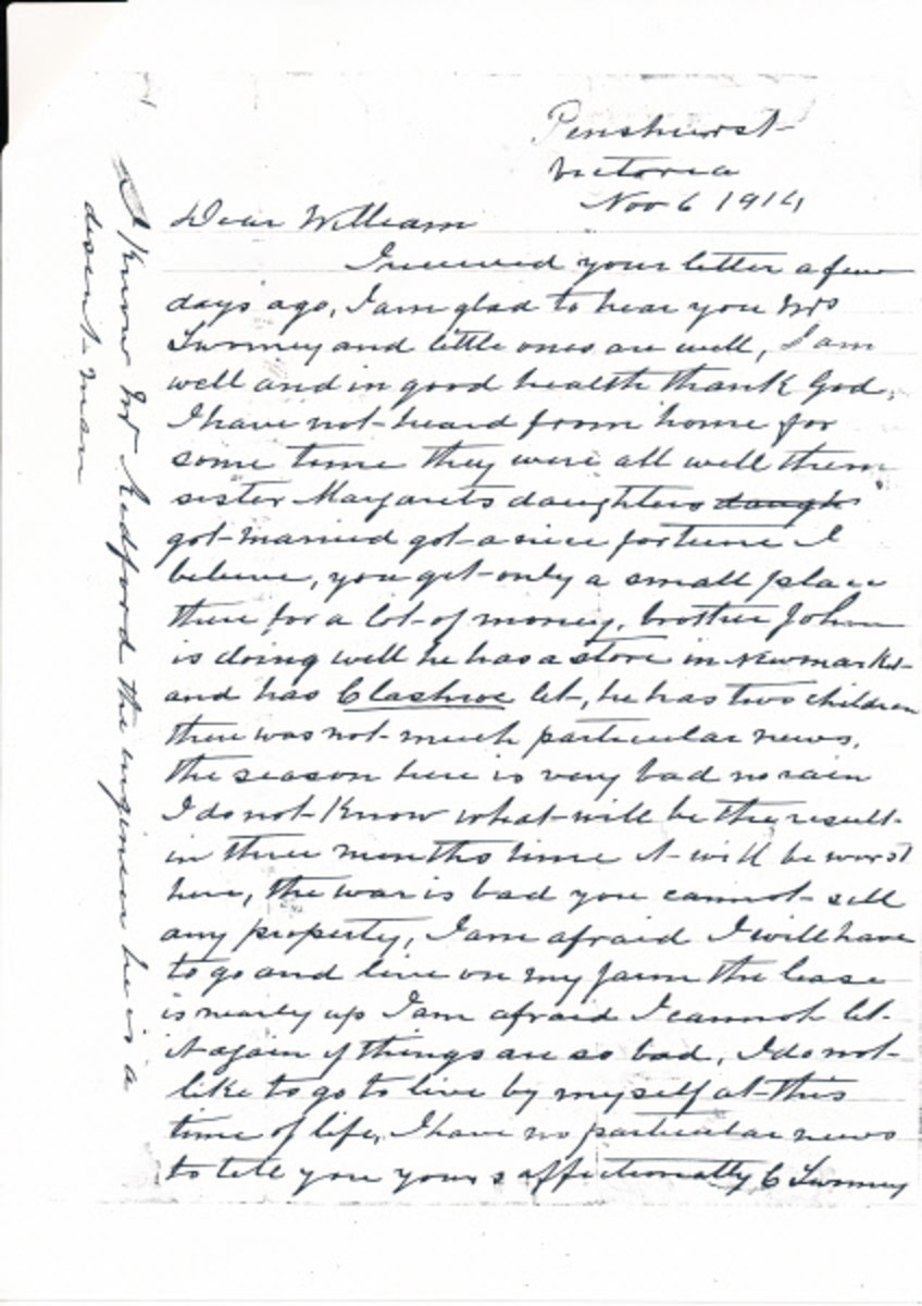 Letter from Cornelius Twomey to his brother William 1914