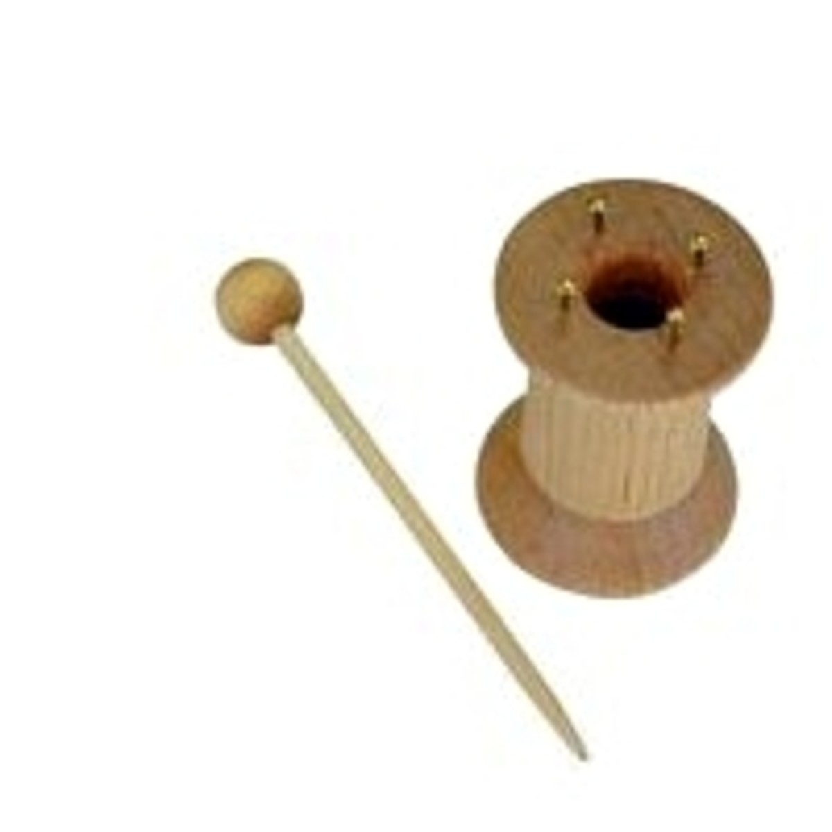 """A """"classic"""" knitting spool made from a wooden thread spool."""