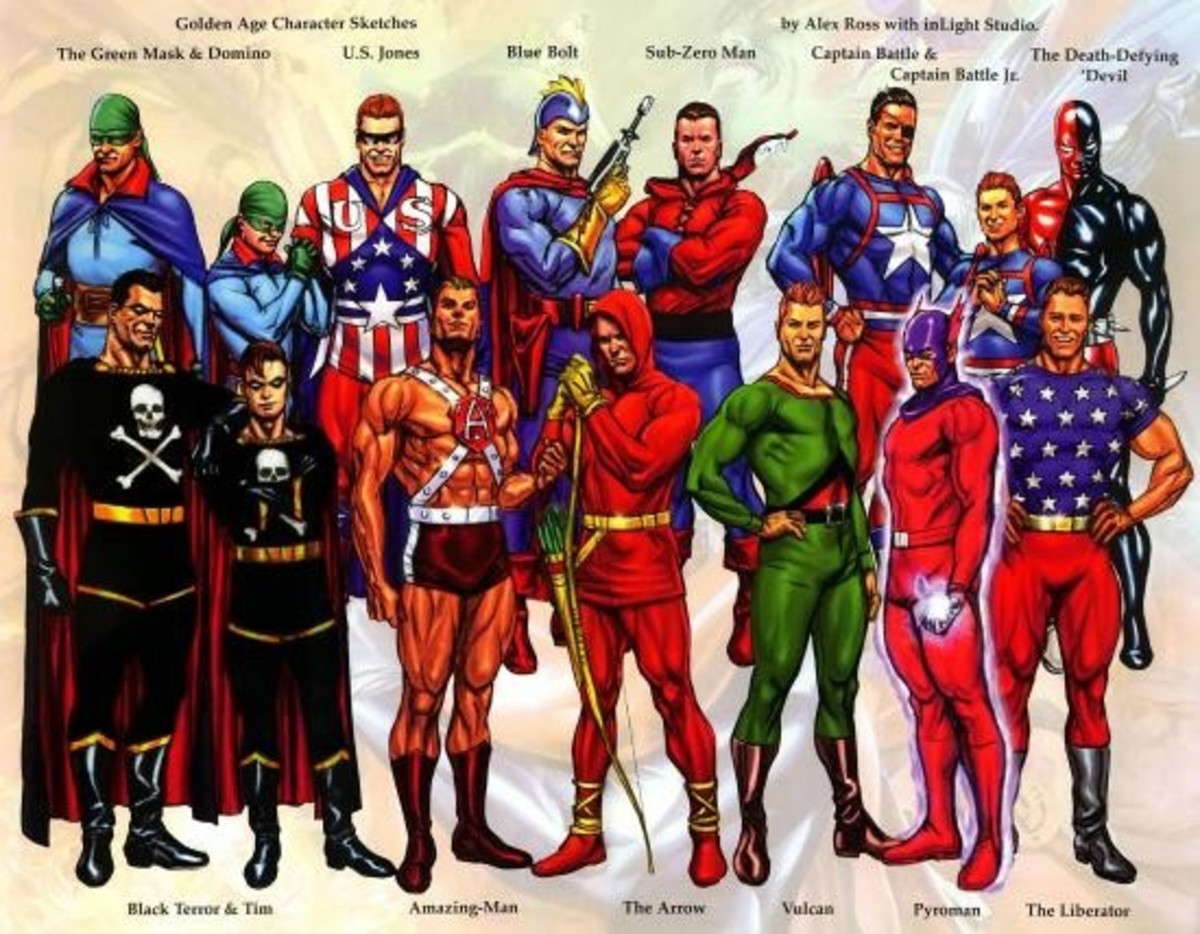 This is another group of heroes, many are unfamiliar to me, but I do see the Arrow.