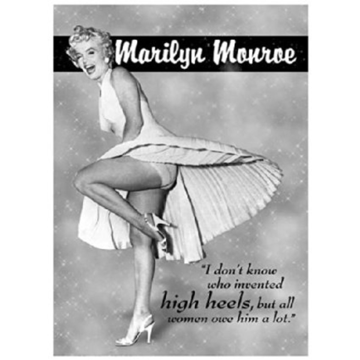 The iconic Marilyn pose in the white dress.