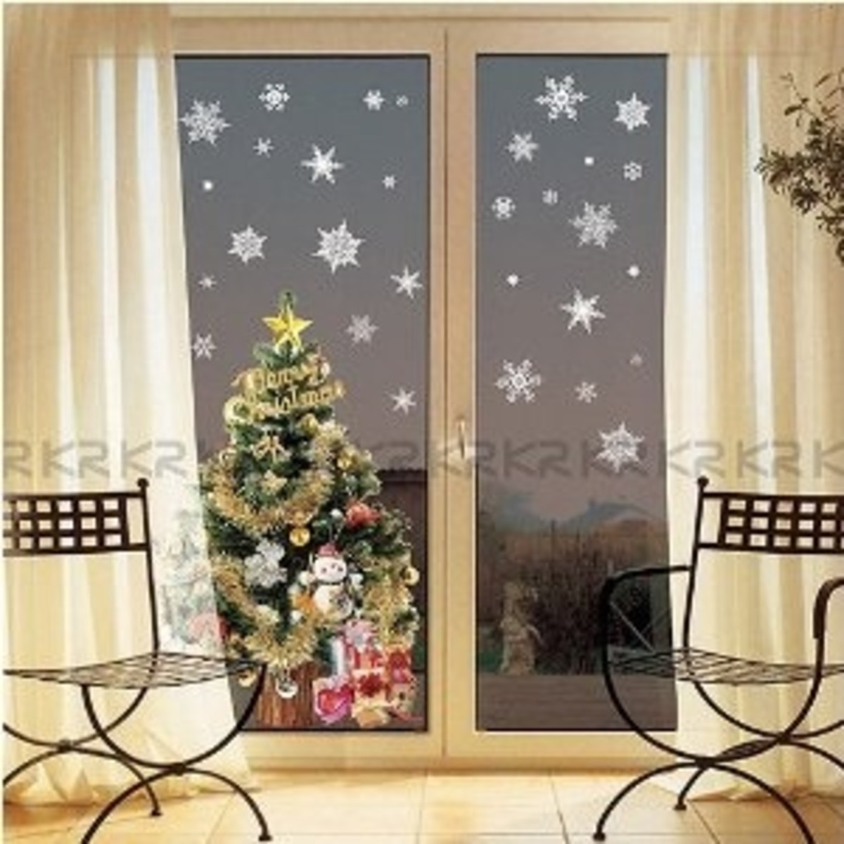 Scatter snowflake silhouettes on walls and windows, then highlight with delicate accessories.