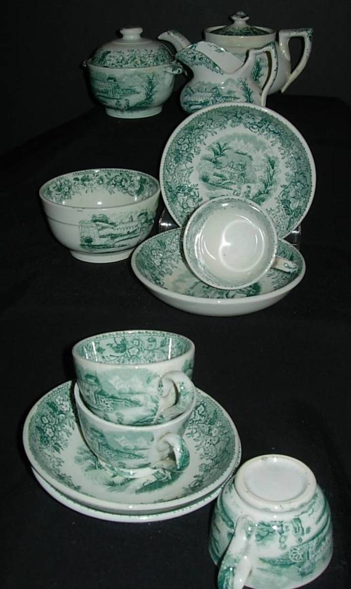 Exquisite antique porcelain children's tea set made in Scotland in 1840 by David Methven and Sons
