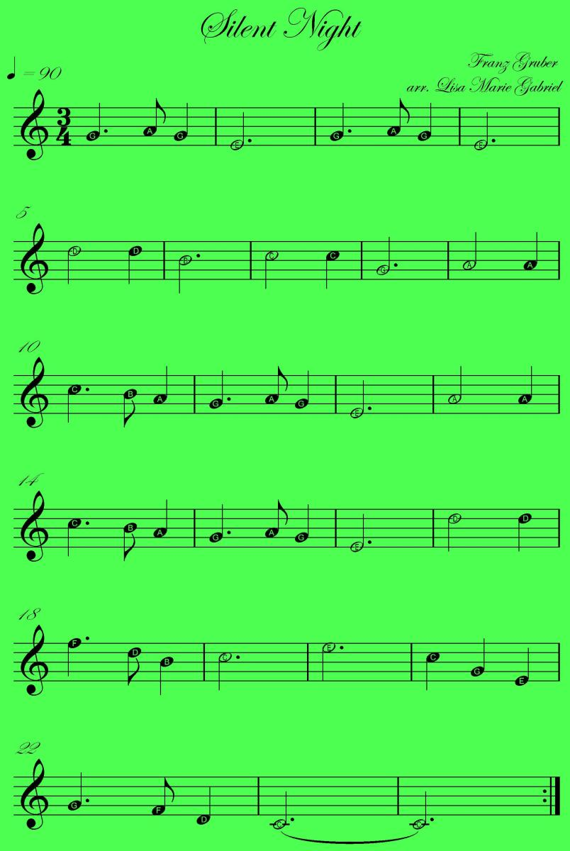 This is the music to play Silent Night on any melody instruiment and there is time to practise. Feel free to download or print this image for personal use.