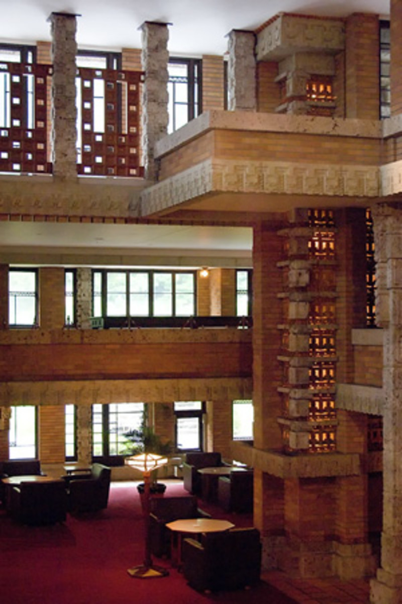 Interior Detail of Frank Lloyd Wright's Imperial Hotel Tokyo Japan