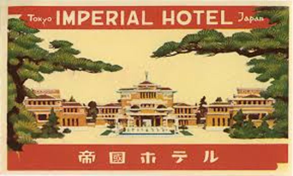 Frank Lloyd Wright Imperial Hotel Japan colorful card - promotional post card?