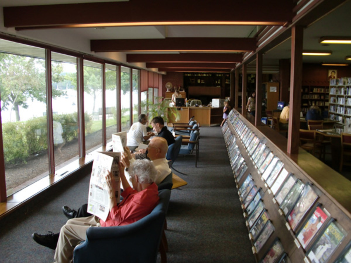 Interior of the Lake Geneva library - overlooking the clear blue waters of Geneva Lake.
