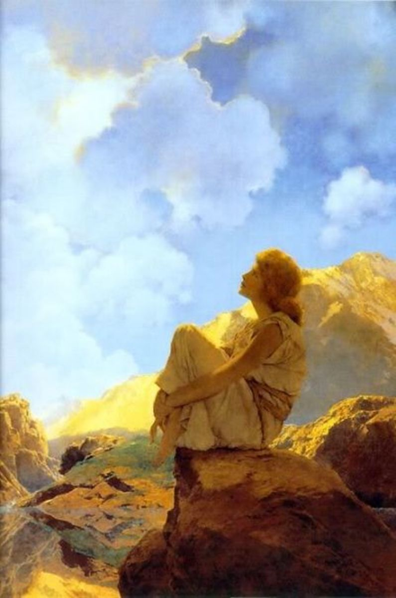 artistic style of Maxfield Parrish