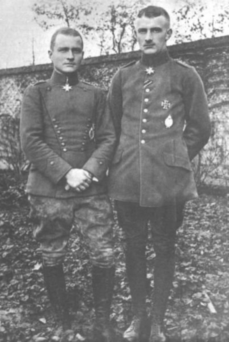 Manfred von Richthofen, the Red Baron, with his brother, Lothar