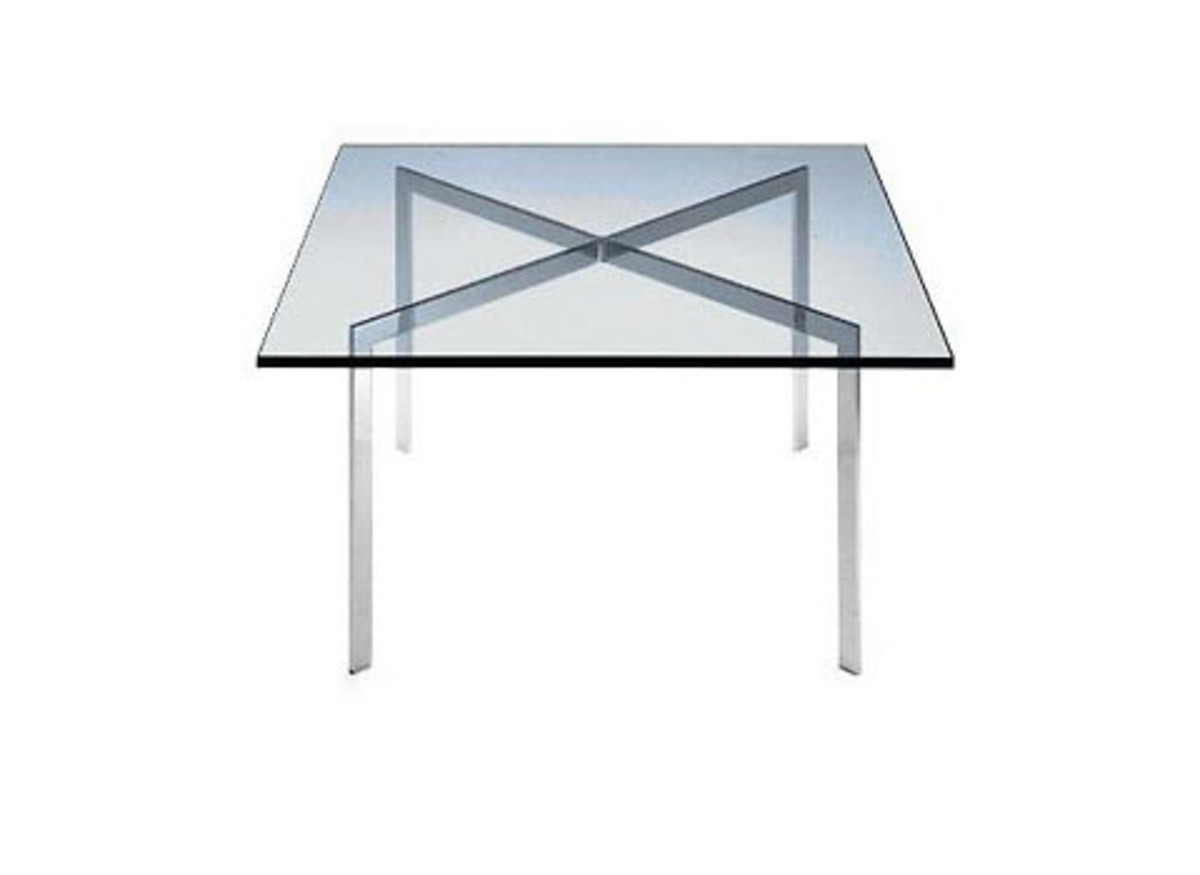 Glass & Chrome X Table designed by Mies van der Rohe