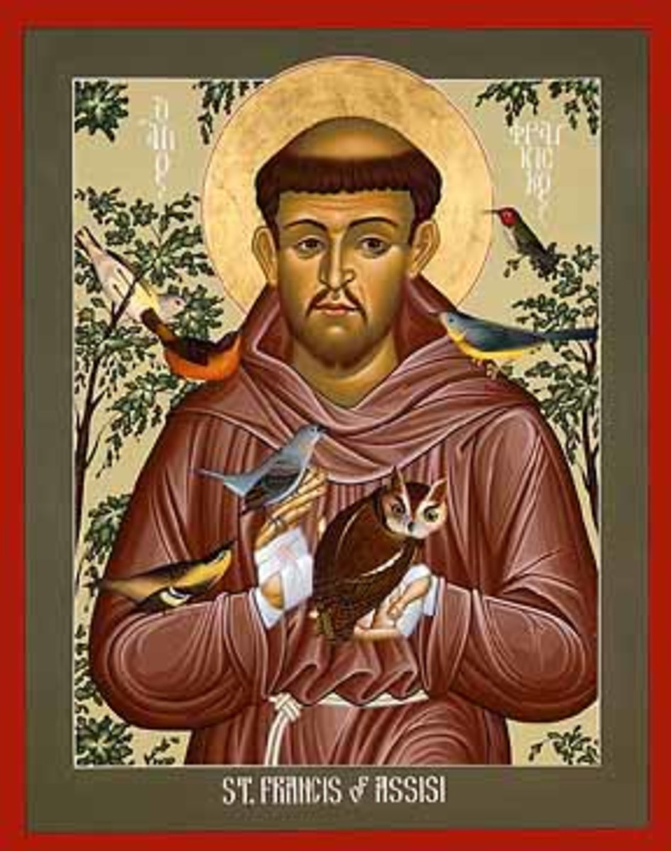 A depiction of St. Francis of Assis in nature.