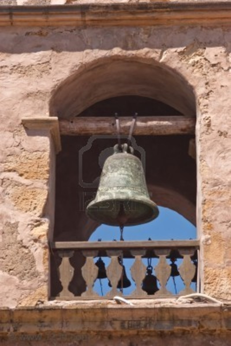 A mission bell tower, or campanario, in the Spanish style.