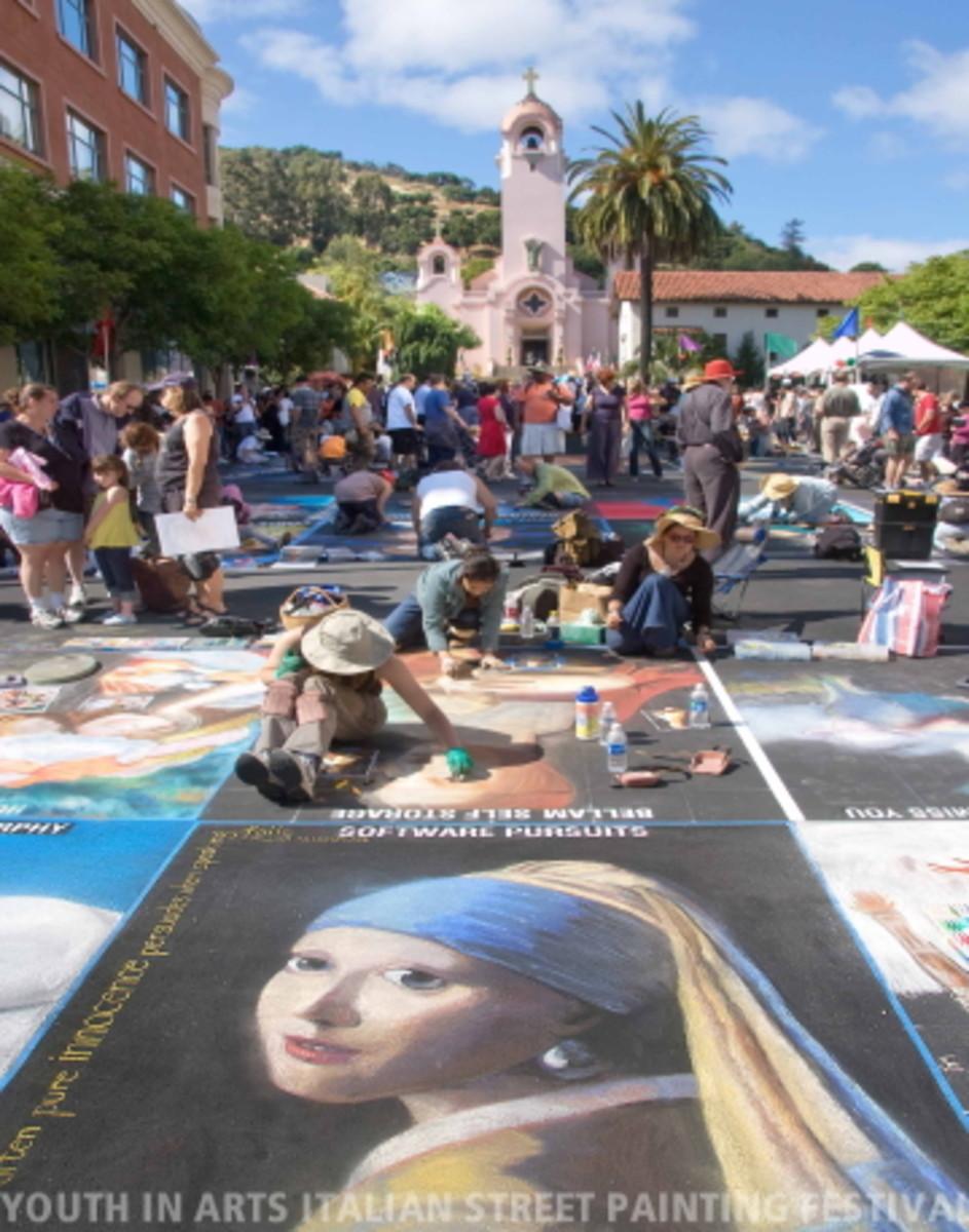 The Italian street painting festival in the city of San Rafael.