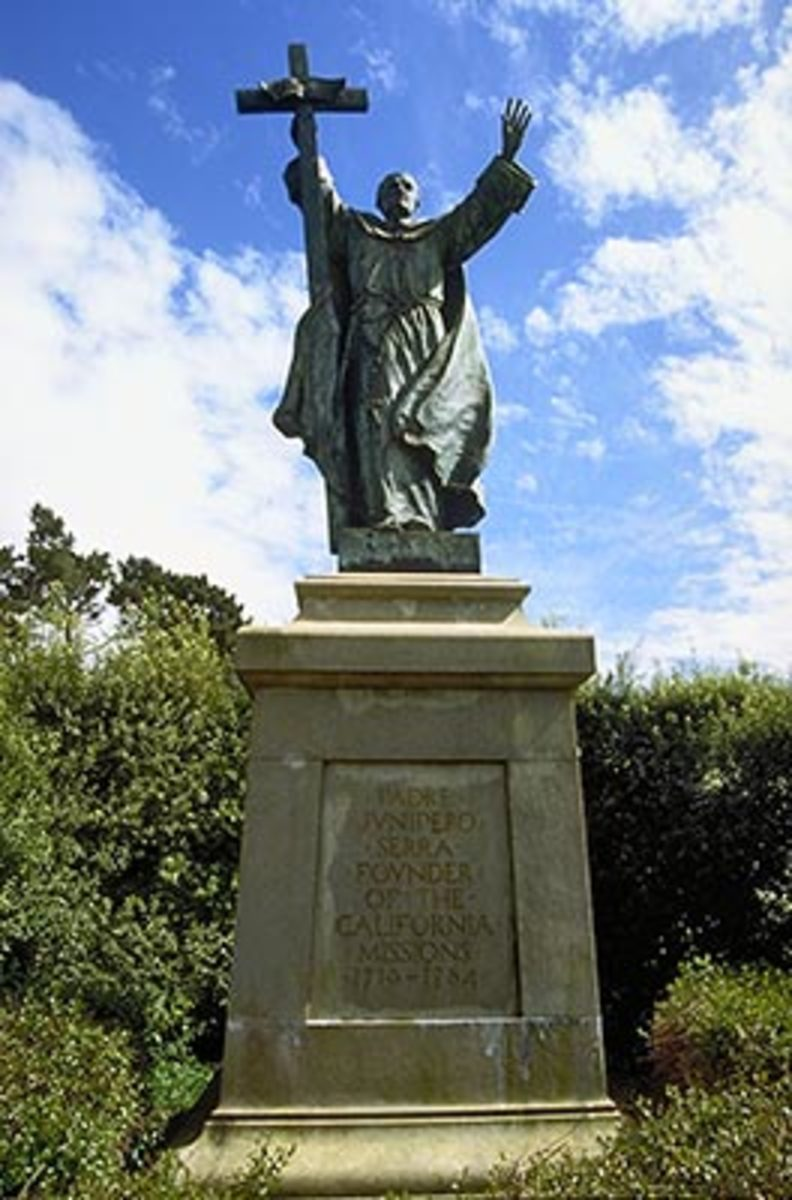 A statue of Junipero Serra at the Musical Concourse in Golden Gate Park, San Francisco.