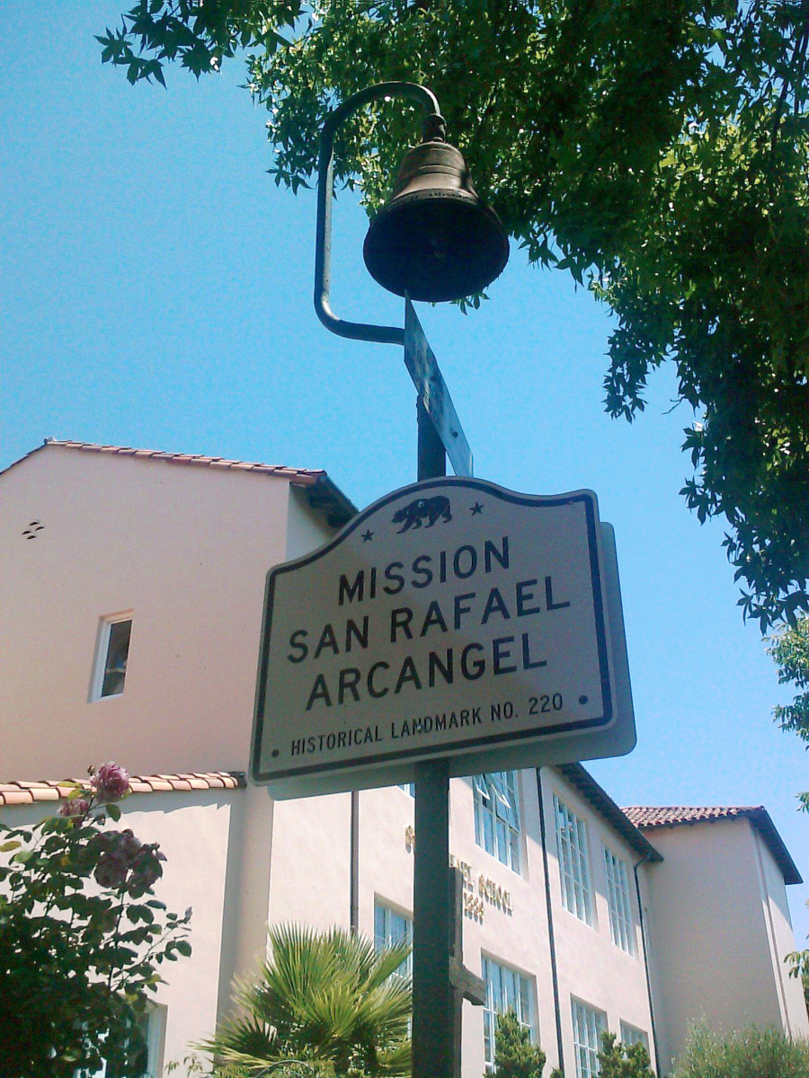 The original El Camino Real bell at Mission San Rafael Arcangel.