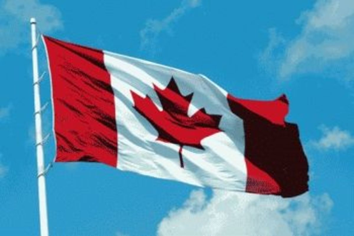 Canadian Flag with the Maple leaf in the center.