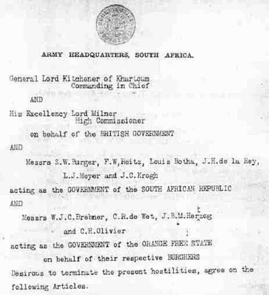 The top of the first page of the Treaty