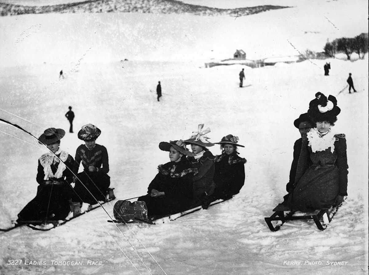 Vintage picture of ladies in a Toboggan Race