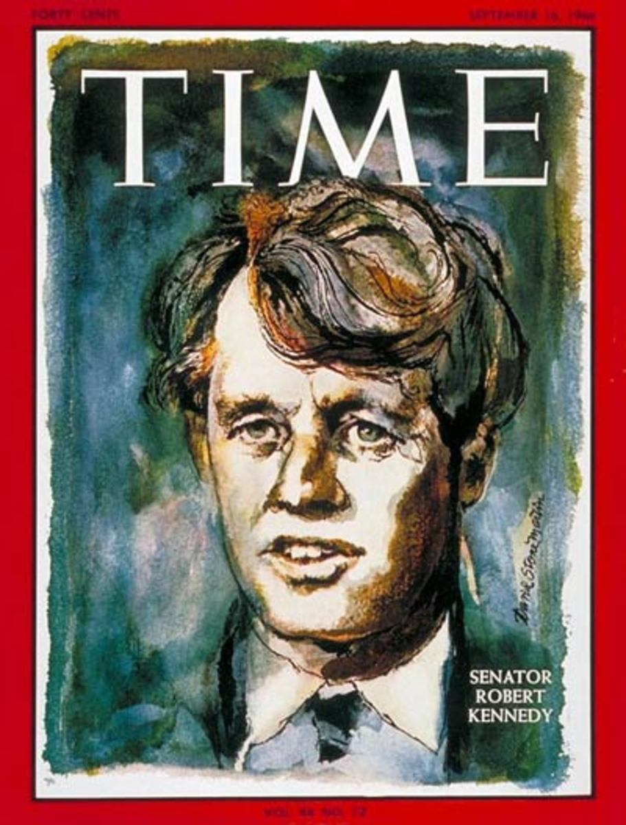 RFK on the cover of Time Magazine 16 September 1966. Artwork by David Stone Martin