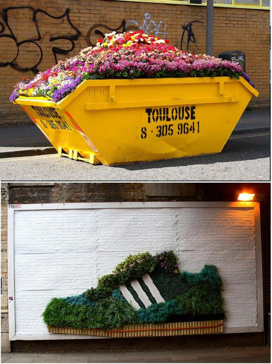 These guerilla gardening installations are part of a large advertisement plan by Adidas. More interesting than most adverts!