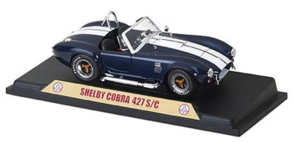Shelby Cobra 427 S/C Blue Diecast on Display Stand