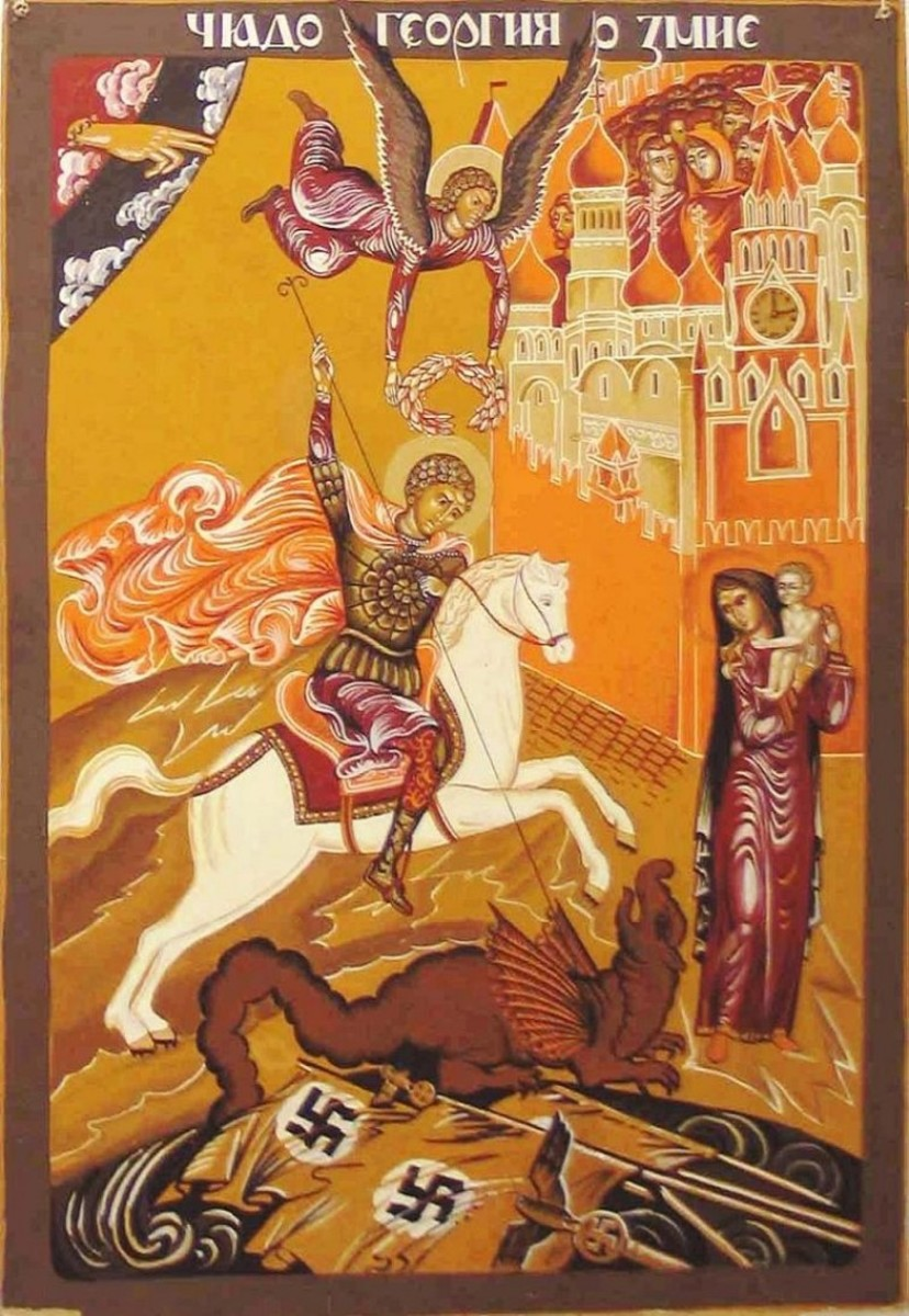 The defeat of National Socialist Forces at the hands of St George the patron saint of Moscow - the black and orange ribbon is worn during the war remembrance and celebration day of 9th May.