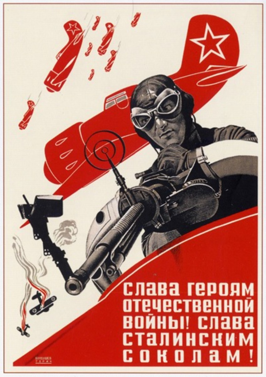 Russia war propaganda poster of World War II showing German and dominant Russian aircraft in combat