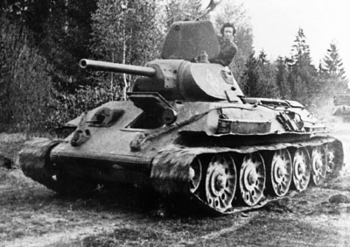 T-34 in battle operation during World War II