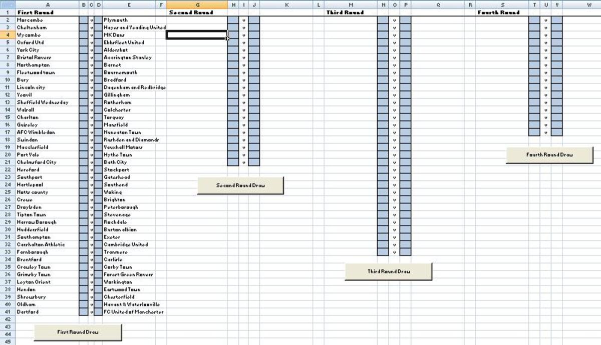 Create an Excel FA Cup Draw